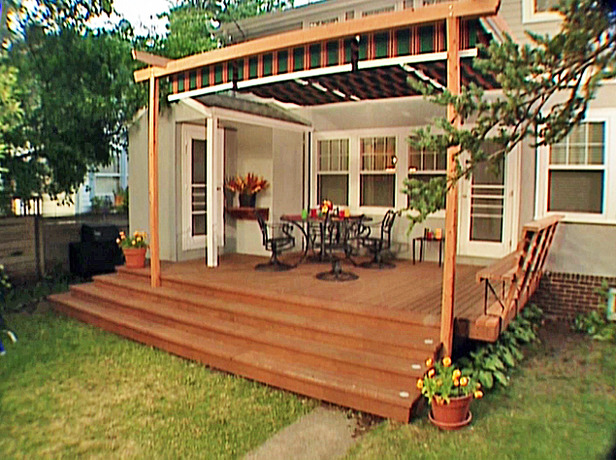 Deck Seating Ideas http://www.diynetwork.com/how-to/how-to-build-a-shade-canopy-frame-to-a-deck/index.html