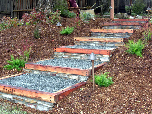 How to build redwood and stone steps how tos diy